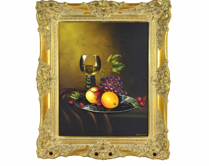1970s Robert Nisznerni Hungarian Still life Oil Painting w Fruit and Wine Goblet