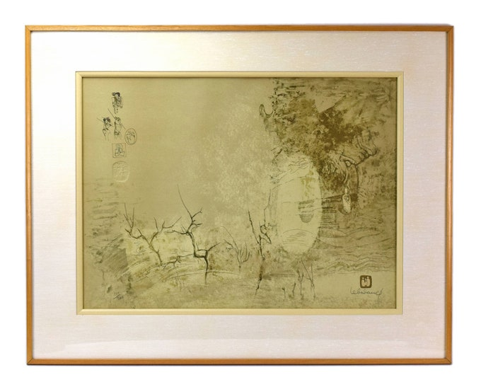 Lebadang Embossed Lithograph Abstracted Trees Figures French Vietnamese