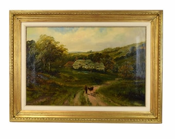 1889 Charles Angus Swan English Oil Painting Country Manor Landscape Man w Goat
