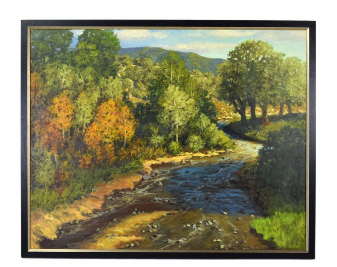 """Vintage Painting Southwest Landscape """"New Mexico Creek"""" by Jerry Greenberg Texas Artist"""