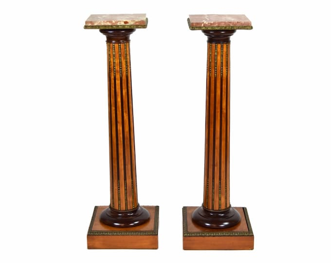 Antique Pair Neoclassical Fluted Column Pedestals w Bronze Mounts Marble Tops