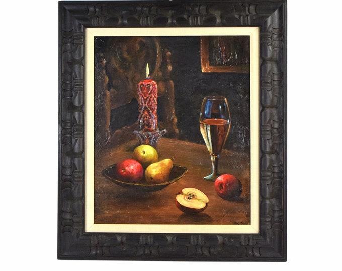Robert Blottiaux 1960's Still Life Oil Painting in Deeply Carved Frame Illinois Artist