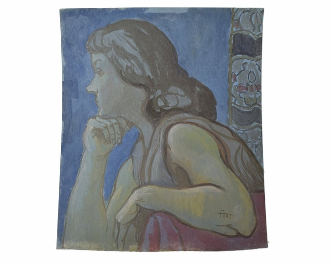 Vintage 1950's Blue Period Watercolor Painting Portrait of Young Woman Dick Fort