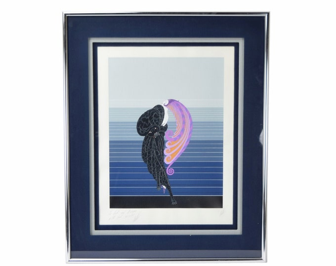"""Erté """"Beauty and the Beast"""" Giant Feather Headdress Serigraph Double Signed Personally Dedicated"""