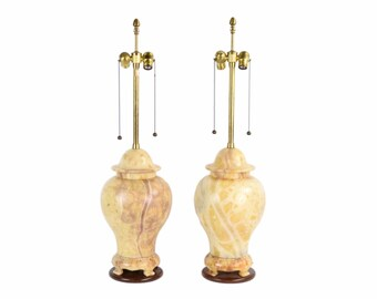 Vintage Pair Mid-Century Ginger Jar Style Modern Marble Table Lamps by Marbro