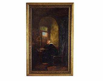Antique Oil Painting Nun Looking Skyward in Contemplation after Kuntz