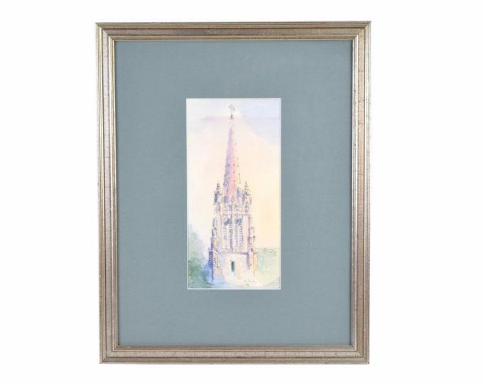 Watercolor Painting Gothic Steeple Seabury Seminary Northwestern University Evanston