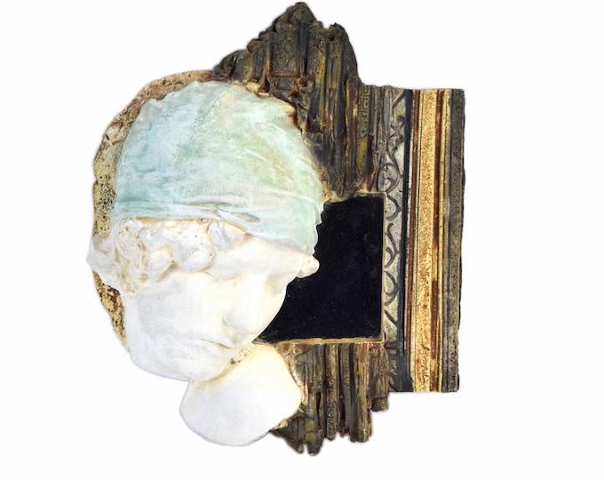 Vintage Marc Sijan Wall Mirror Sculpture Life Size Head of Woman in Head Scarf