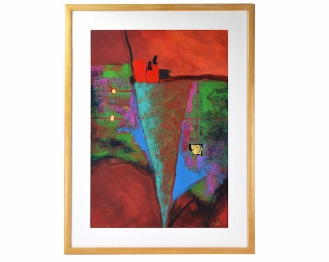 1980's Acrylic Abstract Painting Heavy Impasto signed George Whitten Ohio Artist