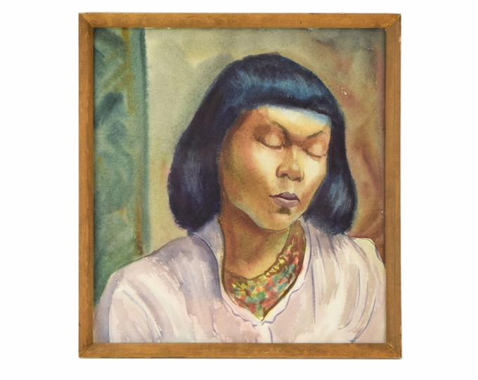 """Vintage Portrait of African American Woman Watercolor Painting """"Drowsy Model"""" Dick Fort"""