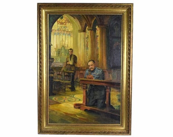 """WWI Oil Painting """"The Gray Man of Christ"""" General Ferdinand Foch after Schoonover"""