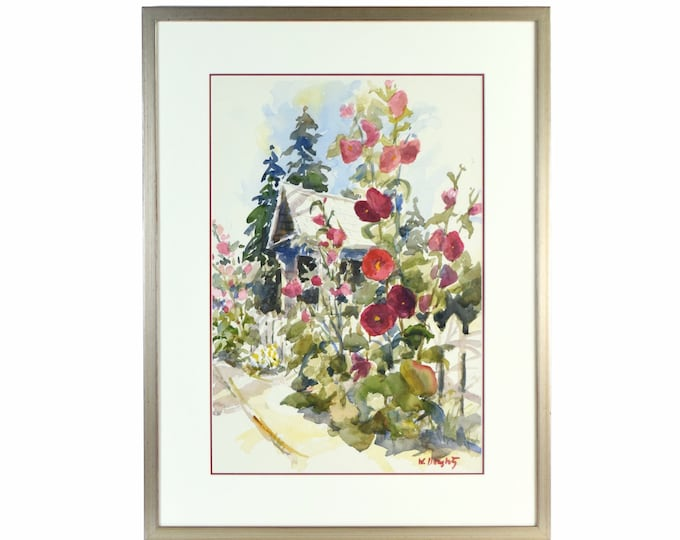Vintage Impressionist w/c Painting Garden Gate w Riot of Red Flowers sgd Doughty