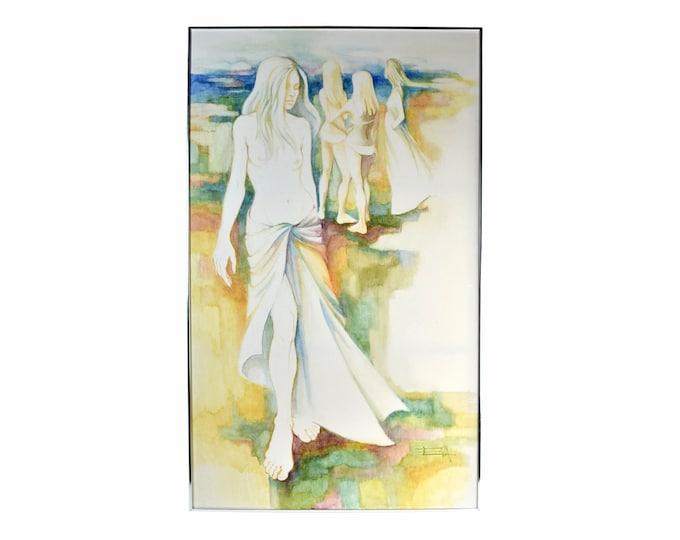 "Vintage 1970's Eva Ruiz ""Fantasy Lake"" Oil Painting Nude Strolling on Beach"