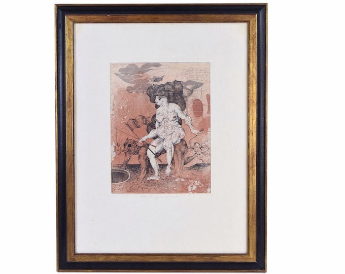 German Surrealist Etching Obese Woman Riding Farting Devil Eberhard Eggers