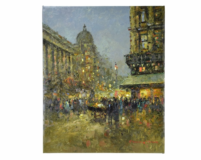 Impressionist Oil Painting Parisian Street Scene at Night w Dome by Morgan