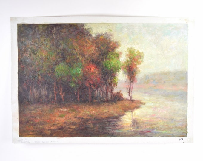 Impressionist Landscape Oil Painting Early Autumn Forest Scene w River Propokov