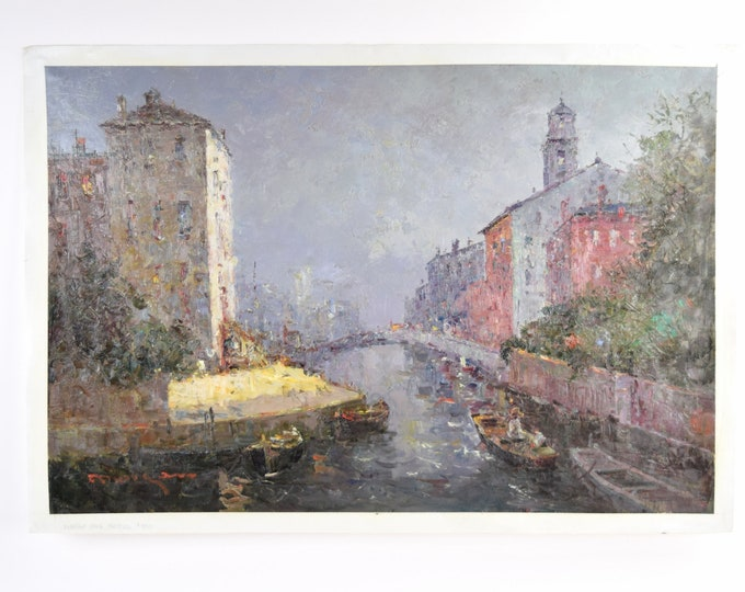 Impressionist Oil Painting Venetian Canal Scene w Cathedral Bell Tower