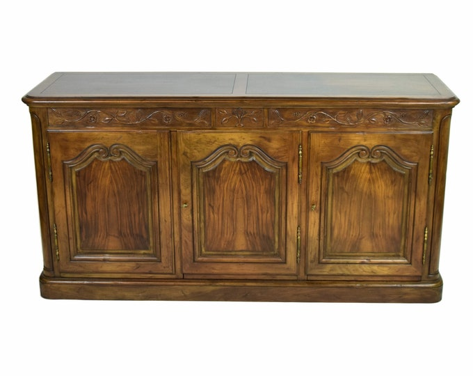 Vintage Baker Furniture Co. Carved Walnut Buffet Sideboard Cabinet