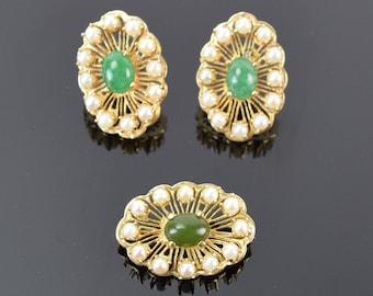 Vintage 14k Gold Demi Parure Set Jade Cabochons Pearl Earrings Brooch