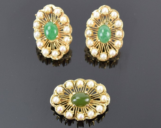Vintage 14k Gold Demi Parure Set Jade Cabochons Pearl Earrings Brooch