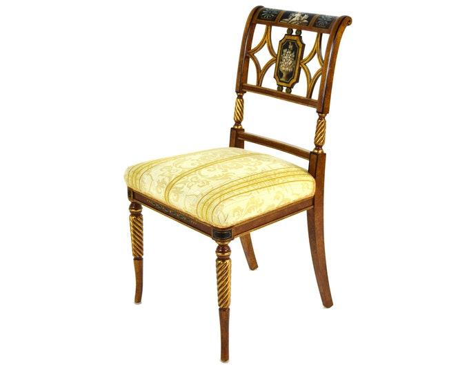 1 of 4 Italian Fine Galimberti Lino Chair Hand-Painted Neoclassical Scenes