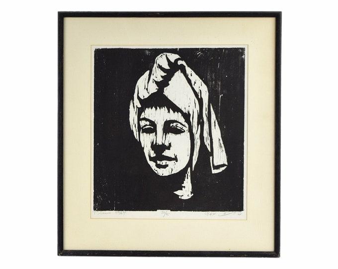 1964 Mid-Century Modern Japanese? Woodblock Print Woman Head Scarf signed #'d