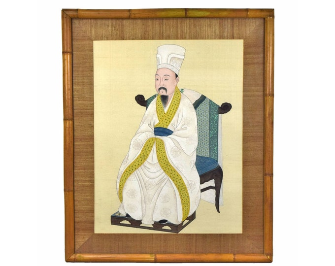 Large Early 20th Century Chinese Ancestral Portrait Painting Won Tai Bamboo Frame