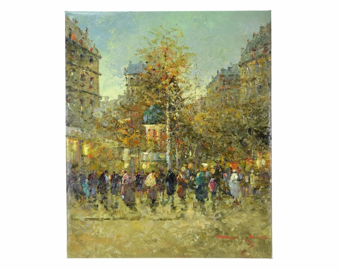Impressionist Oil Painting Parisian Street Scene w Tree & Figures signed Morgan
