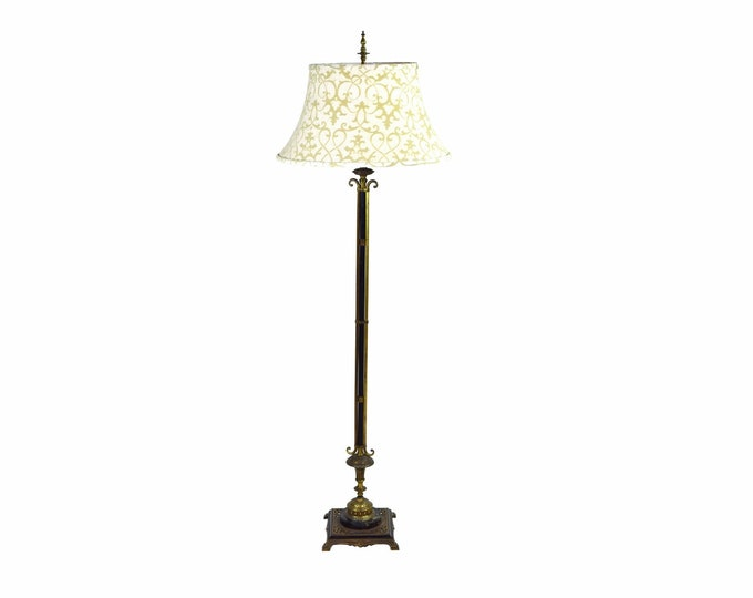 Vintage 1920's Marble and Bronze Patinated Iron Floor Lamp
