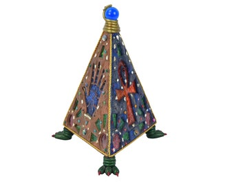 Artist Made Egyptian Mysticism Pyramid Shaped All-Seeing Eye Serpent Lamp Dragon Feet