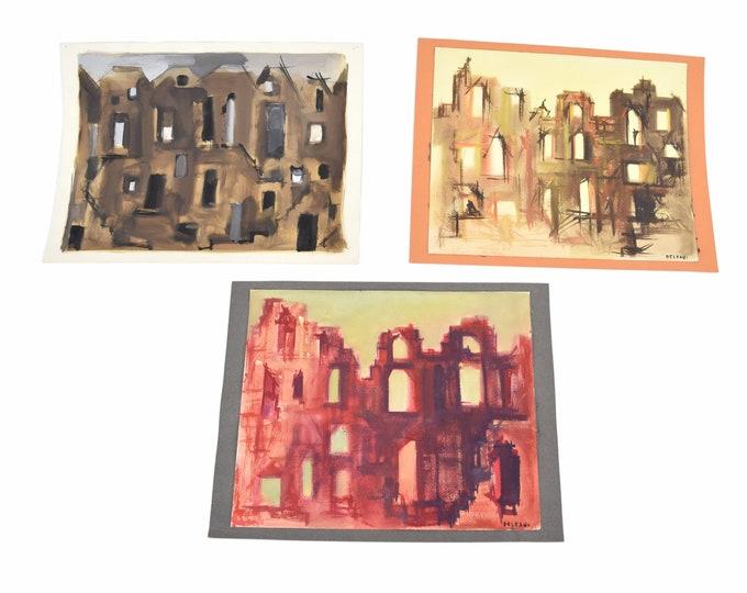 Lot of 3 Andre Delfau Original Gouache Painting Stage Set Design Building Facades