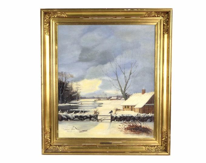 19th Dutch Oil Painting Winter Landscape w Lone Black Bird sgd Alexander Schmidt