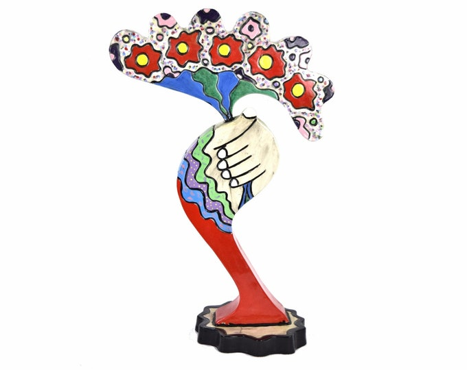 Art Pottery Sculpture Whimsical Abstract Handful of Flowers Bouquet sgd Cohen