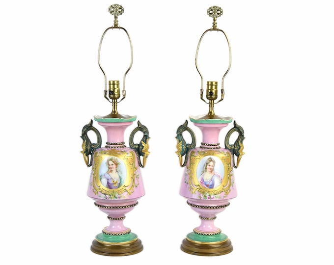 Pair Antique Lamps Hand Painted Porcelain Portrait Vases w Figural Dolphin Handles