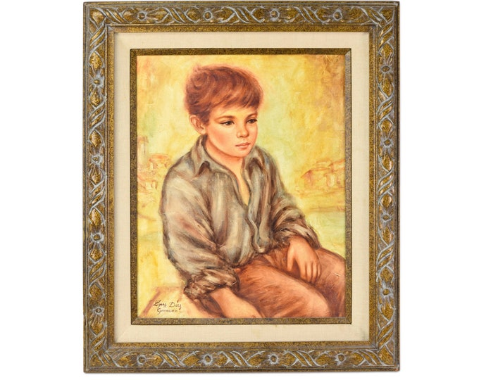 Vintage Spanish Oil Painting Portrait Seated Little Boy Signed Lopez Diaz Granada