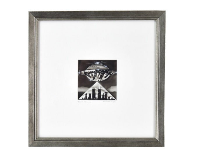 "Vintge ""Beam Me Down"" Flying Saucer Cityscape Black & White Miniature Gouache Painting R. Smyth"