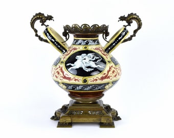 Cupid Riding Wild Panther Majolica Urn w Bronze Dragon Mounts Choisy le Roi as is
