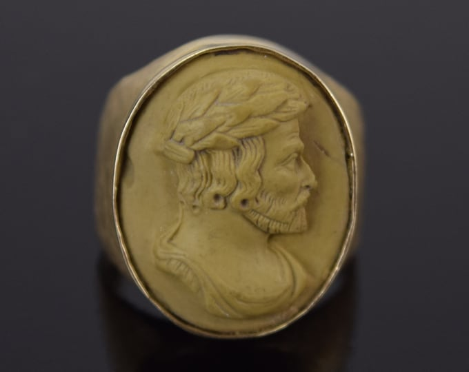 Grand Tour Neo-Classical 14k Gold Lava Bas-Relief Cameo Ring Bearded Man Laurel Crown