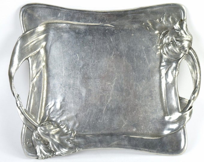 Vintage French Art Nouveau Pewter 2-Handled Serving Tray w Tulips