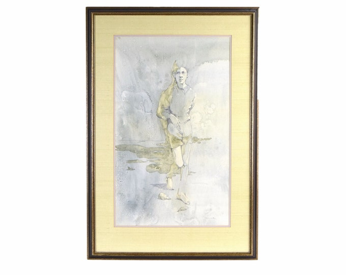 1960's Shelly Canton Watercolor Young Boy Walking Barefoot in Sand Chicago Artist