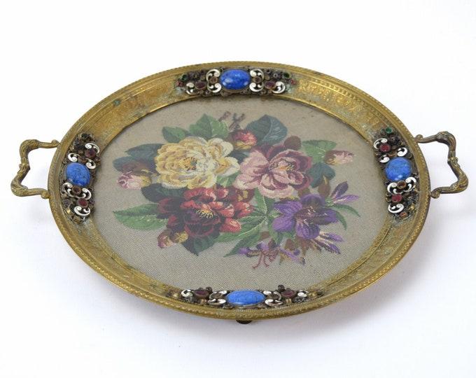 Antique Bronze Dresser Plateau Platter Enameled Jeweled w Lapis Lazuli