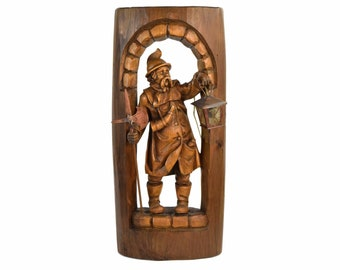 Vintage Black Forest Carved Wall Sculpture Night Watchman w Electrified Lantern