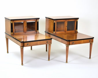 Neoclassical Empire Style Step End Tables w Beveled Glass Door Cabinet Tops