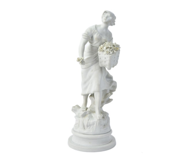 Samson French Bisque Porcelain Sculpture after Moreau Woman w Basket of Flowers