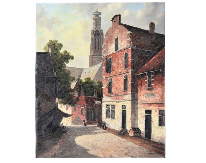 Oil Painting European Village Scene with Cathedral Tower signed E. Parthier