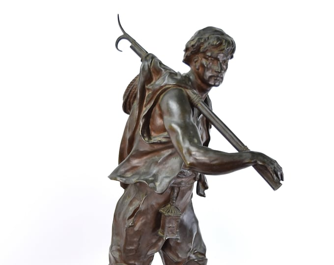 """Antique Whaling BronzeMan with Harpoon """"The Whaler"""" by Emile Louis Picault France"""