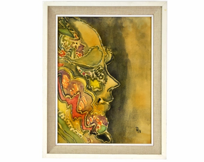 Vintage Mid-Century Modern Textural Abstract Painting Profile Woman signed