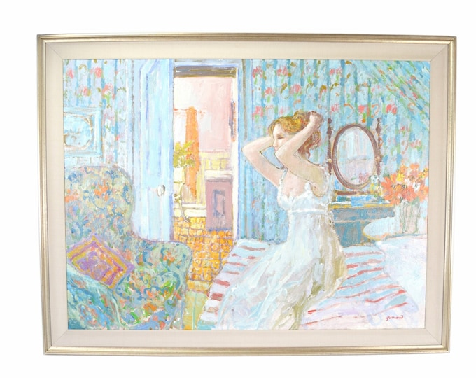 William Grimaud Impressionist Painting Woman in Nightgown on Edge of Bed