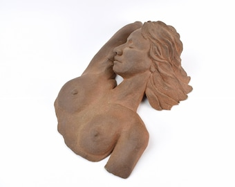 Vintage Art Pottery Terra Cotta Sculpture Reclining Sleeping Nude Woman sgd Lidov Chicago