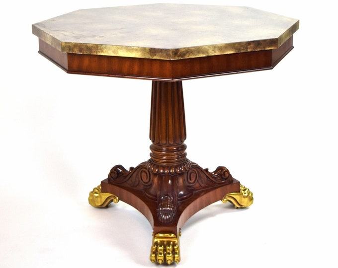 French Empire Antique Style Octagonal Center Entry Table Lion Paw Feet